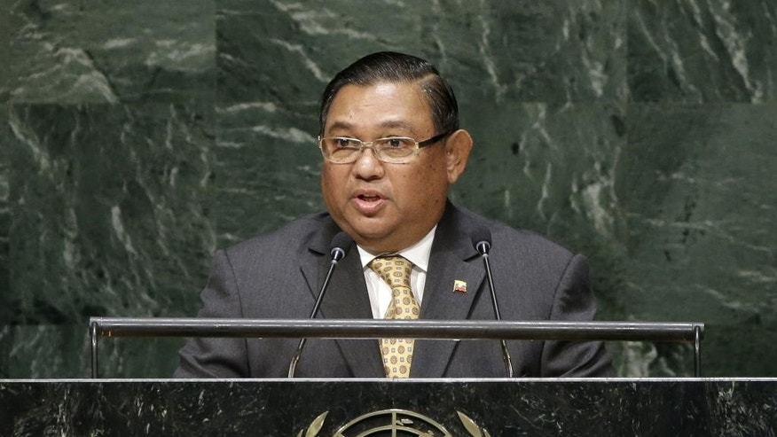 Wunna Maung Lwin, Minister for Foreign Affairs for Myanmar, speaks during the 69th session of the United Nations General Assembly at U.N. headquarters, Monday, Sept. 29, 2014. (AP Photo/Seth Wenig)