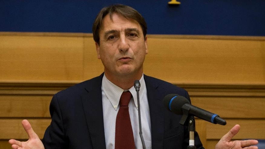 Sept. 30, 2014: Italian politician Claudio Fava speaks during a news conference, in Rome.