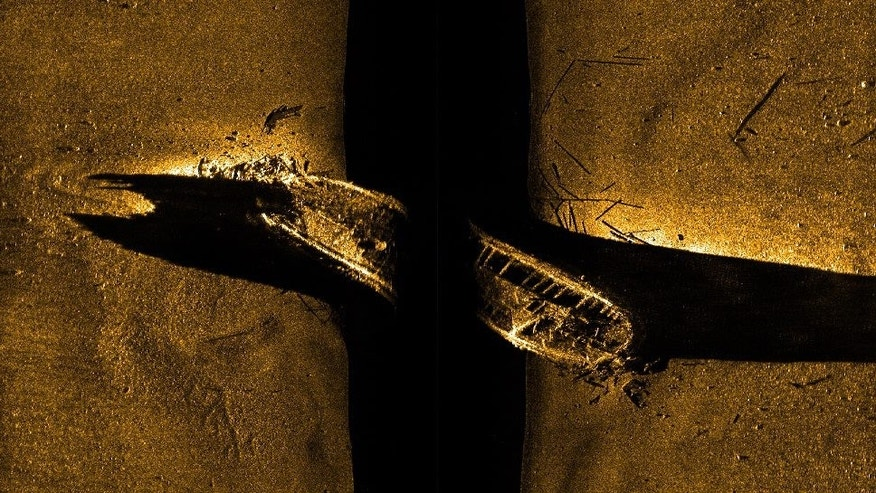 FILE - In this file image released by Parks Canada, shows a side-scan sonar image of a ship on the sea floor in northern Canada. Sir John Franklin was likely sailing on the HMS Erebus vessel when it vanished along with another vessel 170 years ago, Canada's prime minister announced Wednesday, Oct. 1, 2014. (AP Photo/Parks Canada, via The Canadian Press, File)