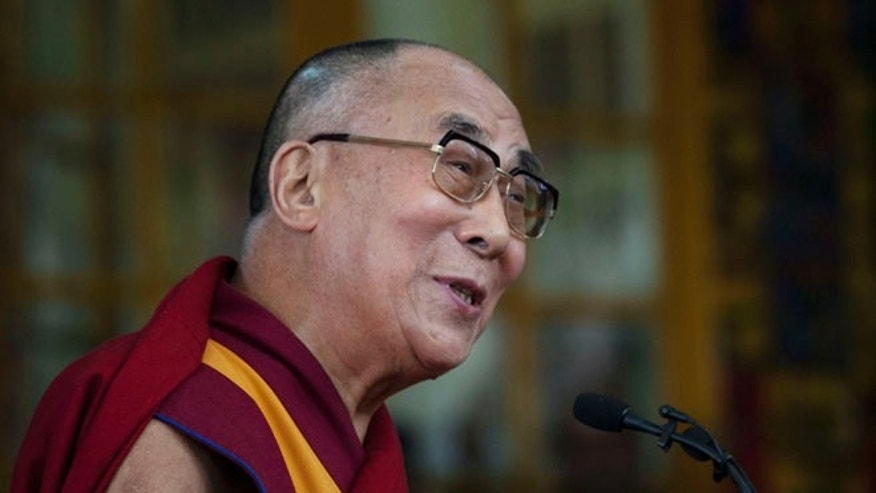 Oct. 2, 2014: Tibetan spiritual leader the Dalai Lama speaks to a crowd during an event marking 25 years since the leader was awarded the Nobel Peace Prize