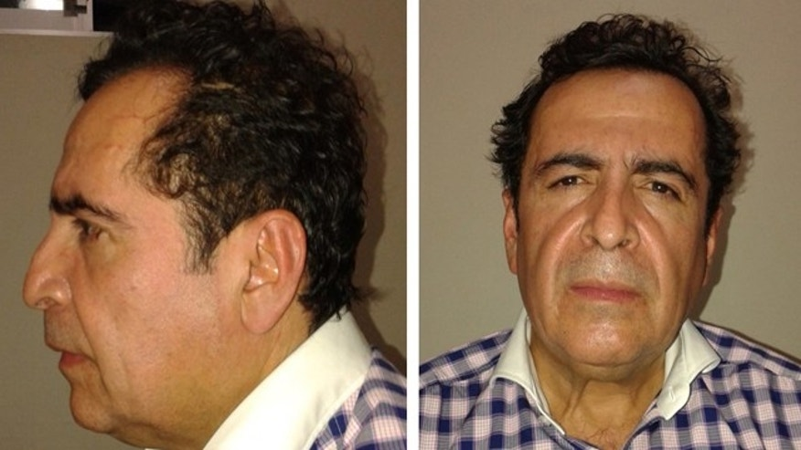 October 1, 2014: This two-image composite released by Mexico's Attorney General's Office (PGR) shows alleged cartel capo Hector Beltran Leyva after his arrest by Mexican law enforcement authorities. The purported head of the Beltran Levya drug gang was captured in a seafood eatery in San Miguel de Allende, a city in the central state of Guanajuato that is a popular enclave for artists and foreigners. (AP Photo/ Mexico's Attorney General's Office)