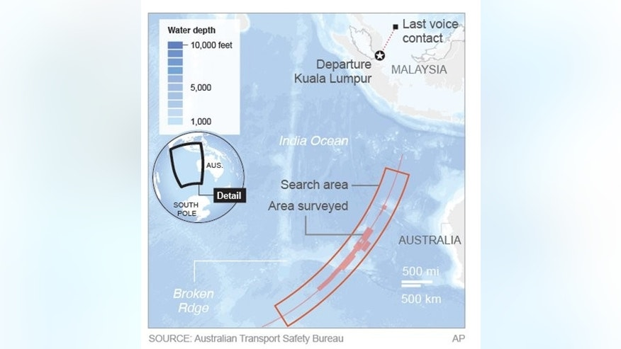Map shows search areas for missing Malaysia Airlines missing jet.; 2c x 5 inches; 96.3 mm x 127 mm;