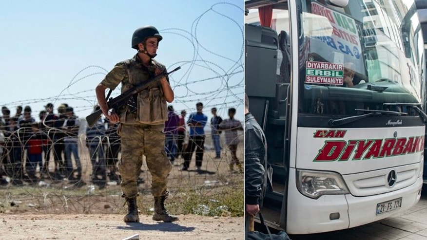 While Turkey is guarding its border from Kurdish refugees pouring in from Syria (l.), some say the nation is not doing enough to stop western jihadists from making their way to the Islamic State, often by plane to Istanbul and then by bus to the border. (Reuters, FoxNews.com)
