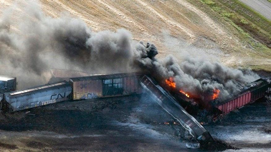 October 7, 2014: A Canadian National Railway Company freight train carrying dangerous goods derailed and caught fire near the town of Wadena, Saskatchewan. Officials said none of the crew were injured. (AP Photo/The Canadian Press, Liam Richards)