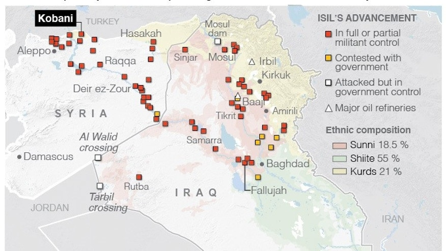 Map shows the spread of the Islamic State across Iraq and Syria with ethnic borders on the map.;