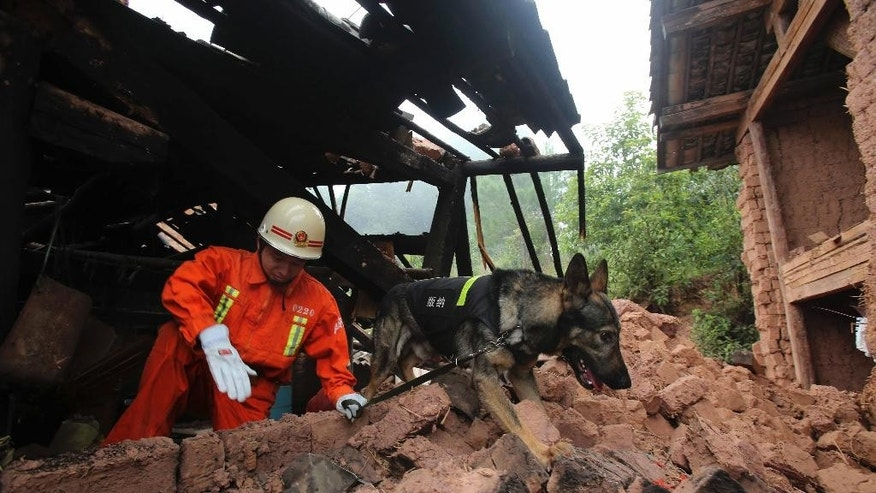 A rescue worker and a sniffer dog search for victims in the aftermath of a quake in Pojiao village of Jinggu county in southwest China's Yunnan province Wednesday Oct. 8, 2014. A strong, shallow earthquake with a magnitude of at least 6.0 shook southwestern China overnight, killing at least one person, damaging buildings and prompting thousands to camp outside as aftershocks continued to strike the area, officials said Wednesday. (AP Photo) CHINA OUT