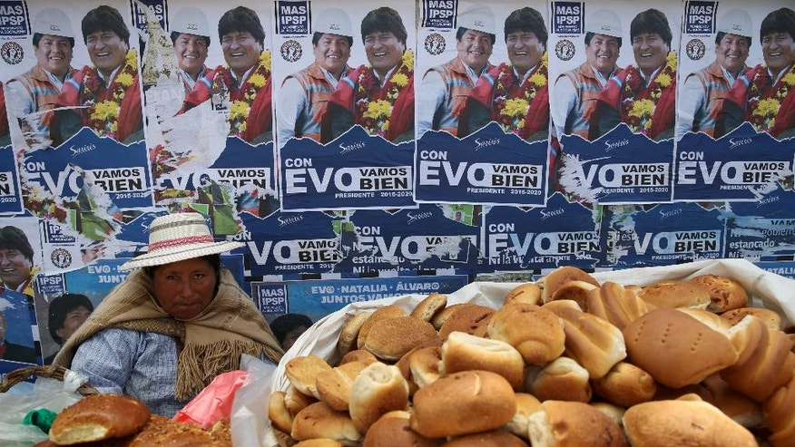 A bread vendor sits against a wall covered with campaign posters promoting Bolivia's President Evo Morales, who is seeking re-election under the Movement Toward Socialism Party, MAS, in El Alto, Bolivia, Thursday, Oct. 9, 2014. Bolivia will hold general elections on Sunday. (AP Photo/Martin Mejia)