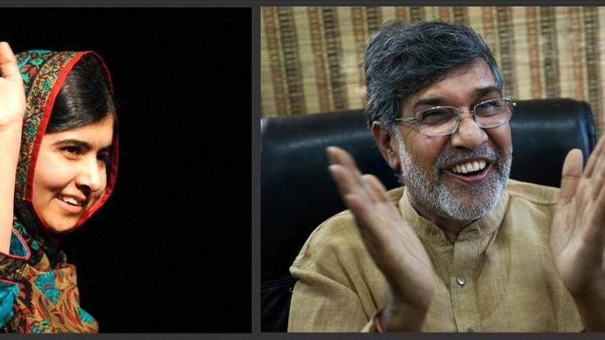 In this photo combo, Malala Yousafzai, left, and Kailash Satyarthi, address the media, on Friday, Oct. 10, 2014. Despite their many differences, 17-year-old Yousafzai and 60-year-old Satyarthi will be forever linked, co-winners of the 2014 Nobel Peace Prize, honored for risking their lives for the rights of children to education and to lives free of abuse. (AP Photo/Rui Vieira, Bernat Armangue)