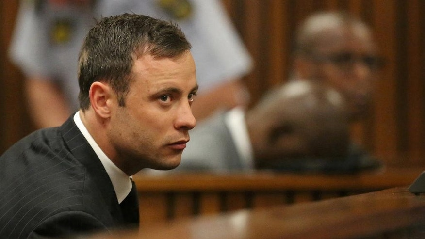 Sept. 12, 2014: In this file photo, Oscar Pistorius sits in the dock in court in Pretoria, South Africa, where Judge Thokozile Masipa found Pistorius guilty of culpable homicide for the shooting death of his girlfriend Reeva Steenkamp. (AP)