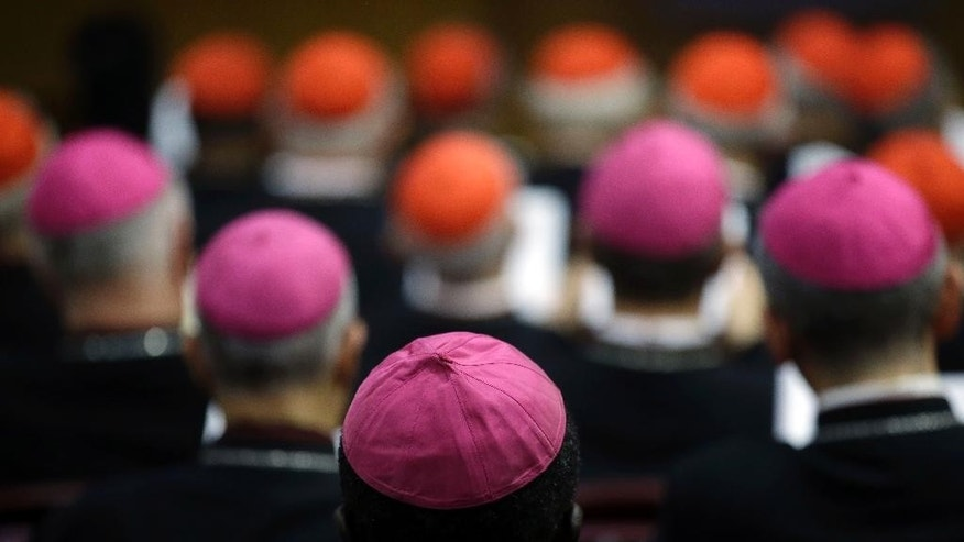 "Oct. 13, 2014 - Bishops and Cardinals attend a morning session of a two-week synod on family issues at the Vatican. Catholic bishops showed unprecedented openness, saying gays had gifts to offer the church and should be accepted...and that there were ""positive"" aspects to civil unions."