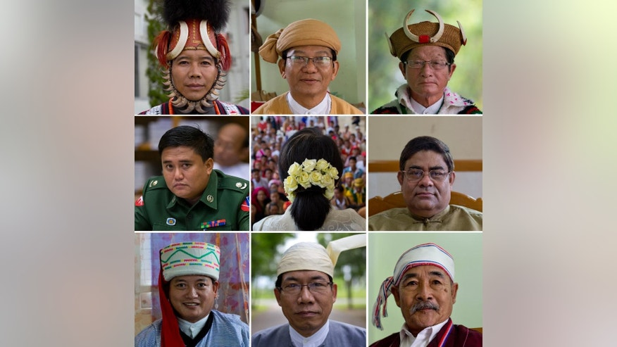 In this combination of nine photos taken in August and September 2014 in Yangon and Naypidaw, from left to right, top, Myat Ko, an ethnic Naga wears a traditional Naga hat, Ye Tun, an ethnic Burman wears a Shan hat, In Phong San, an ethnic Kachin wears cane hat with wild bore horns. Middle left to right, Army Major Soe Moe, has five different hats but doesn't wear any in the Parliament, democracy icon Aung San Suu Kyi wears flowers, Shwe Maung, an ethnic Rohingya who keeps a soft, brown, tassled fez-like cap, modeled after one worn by Abdul Gaffar, a Rohingya legislature of Myanmar's firstprime minister. The civilians elected to Myanmar¹s bicameral legislature are required to wear hats when taking the floor. The Burman majority dons a silk turban known as a gaun baun, which has come to symbolize the nascent civilian government. Ethnic minorities wear everything from feathers and claws to tea towels on their heads. The most famous legislator, Suu Kyi, wears simple white flowers. Bottom, left to right, Je Yaw Wu, anethnic Lisu wears a cushioned white hat, Aye Maung, an ethnic Rakhine, wears a traditional hat known as Rakhine Gaun baung, Saw Thein Aung, an ethnic Karen wears a scarf in Naypyidaw, Myanmar.  (AP Photo/Gemunu Amarasinghe)