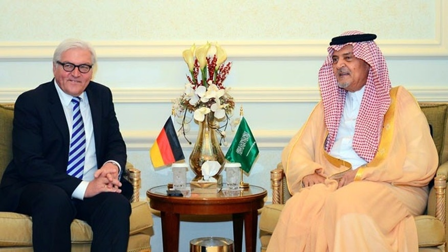 Oct. 13, 2014: German Foreign Minister Frank-Walter Steinmeier, left, meets with Saudi Arabias Foreign Minister Saud al-Faisal in Jeddah, Saudi Arabia