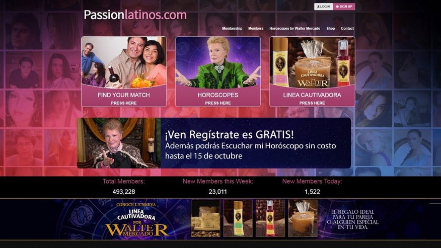 The landing page of PassionLatinos.com.