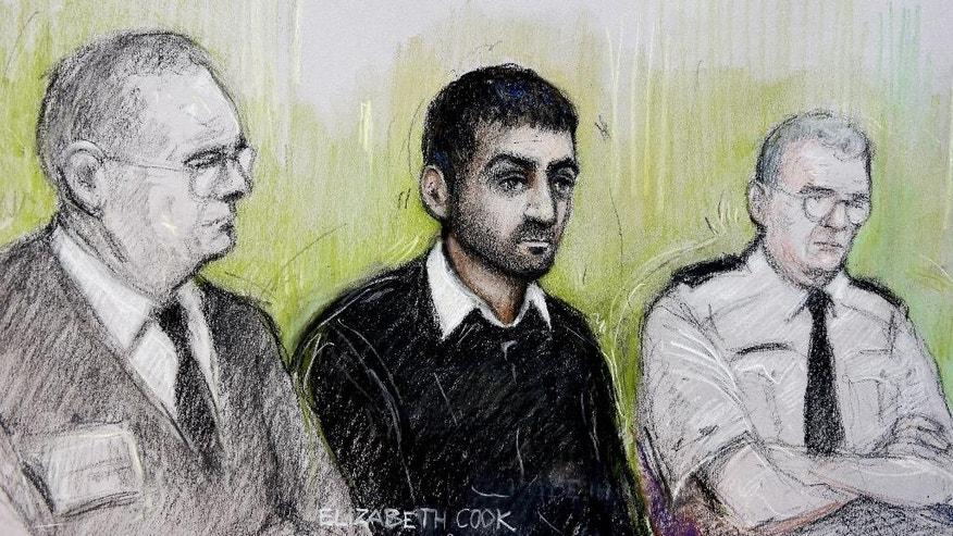 "Oct. 13, 2014: This is a sketch by court artist  Elizabeth Cook, of Erol Incedal , centre, seated at the Central Criminal Court  ""Old Bailey"" London. (AP/Elizabeth Cook/PA)"