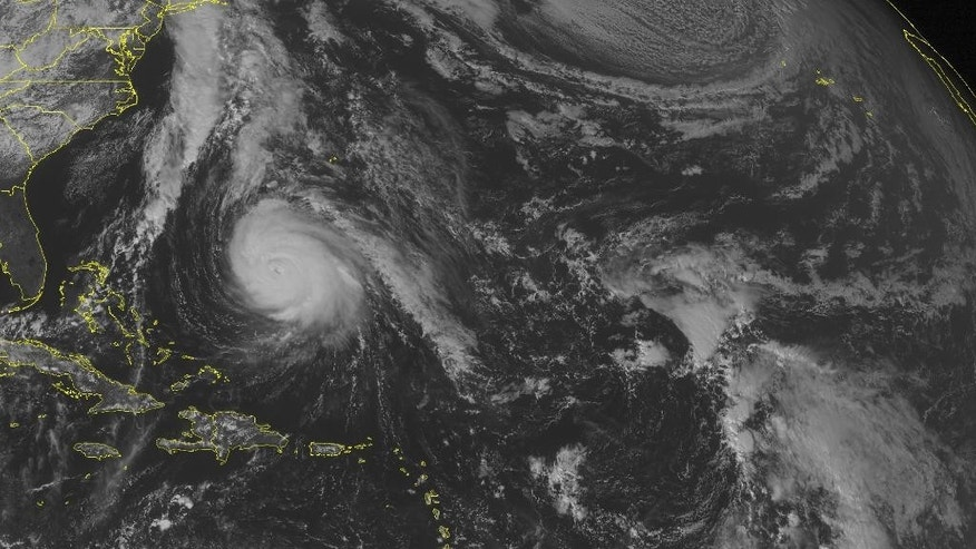 This NOAA satellite image taken Thursday, Oct. 16, 2014 at 1:45 p.m. EDT, shows Hurricane Gonzalo 460 miles southwest of Bermuda with maximum winds of 145 miles per hour. Gonzalo will likely directly impact Bermuda as a moderate hurricane before it continues northward into the northern Atlantic. (AP Photo/ Weather Underground