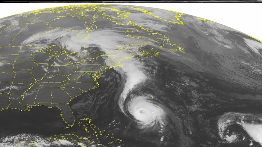This NOAA satellite image taken Friday, Oct. 17, 2014 at 1:45 a.m. EDT shows Hurricane Gonzalo just south of Bermuda. A cold front across New England is producing heavy rain and showers for much of the region. Mostly clear skies for the Southeast US and the Tennessee Valley from high pressure. Some rain and drizzle over the Great Lakes from the dissipating low pressure system. (AP PHOTO/WEATHER UNDERGROUND)