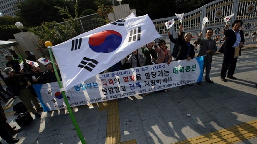 October 15, 2014: South Korean civic group members wave their national flags as they support sending balloons to North Korea with anti-Pyongyang propaganda leaflets in front of the government complex in Seoul. (AP Photo/Lee Jin-man)
