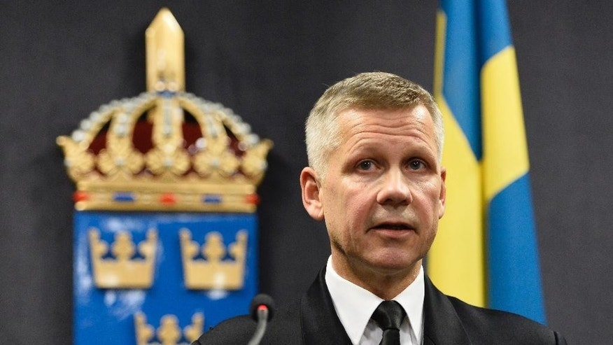 "Swedish Navy commodore Jonas Wikstrom talks to media at a press conference on Friday, Oct. 17, 2014. Wikstrom says Swedish military has deployed planes and ships in response to ""foreign underwater activity"" in the Stockholm Archipelago. (AP Photo / Anders Wiklund) SWEDEN OUT"