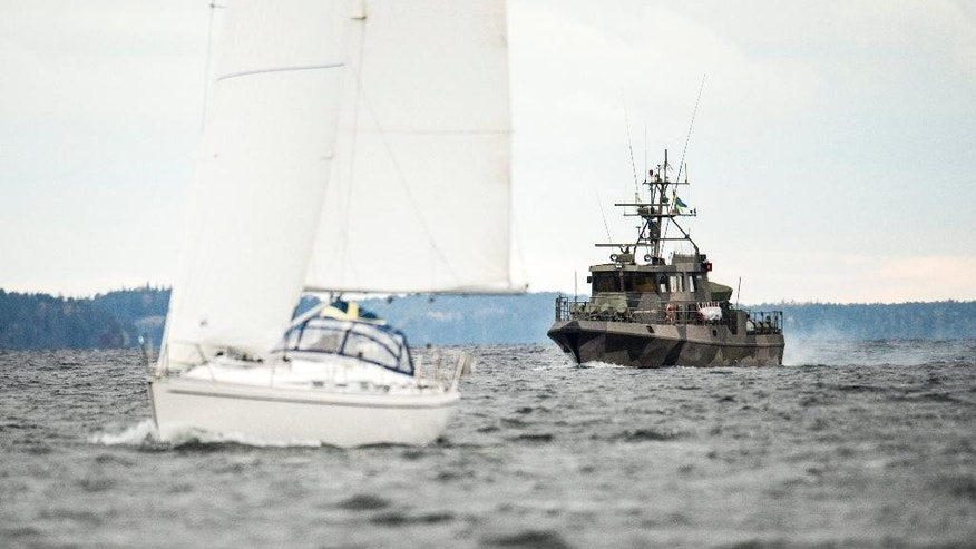 "A Swedish military patrol vessel   in the the Stockholm Archipelago, Sweden,  Saturday Oct. 18 2014. Sweden's military continues to investigate reports of ""foreign underwater activity"" in the Stockholm archipelago using high-tech equipped naval vessels, aircraft and home guard forces.  (AP Photo/TT News Agency/Pontus Lundahl)   SWEDEN OUT"