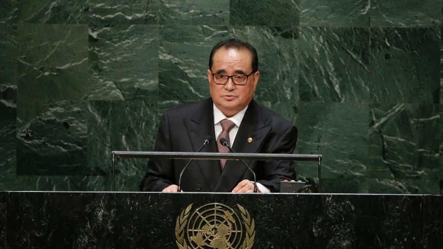 "FILE - In this Saturday, Sept. 27, 2014 file photo, North Korean Foreign Minister Ri Su Yong addresses the 69th session of the United Nations General Assembly at U.N. headquarters. International pressure on North Korea began to mount early this year, when a groundbreaking U.N. report by a commission of inquiry laid out widespread abuses, including a harsh system of political prison camps of up to 120,000 people. The commission head, Michael Kirby, said the country's human rights situation ""exceeds all others in duration, intensity and horror."" Now the European Union and Japan have teamed up on a demand for the Security Council, the U.N.'s most powerful body, to follow the commission of inquiry's advice and refer North Korea's situation to the International Criminal Court. (AP Photo/Frank Franklin II, File)"