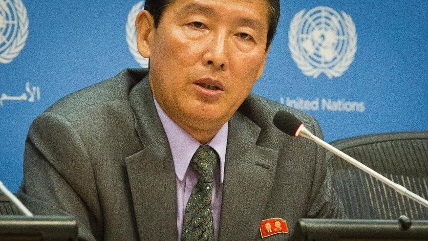"FILE - In this Friday, Aug. 1, 2014 file photo, North Korea's Deputy U.N. Ambassador Ri Tong Il speaks during a news conference at U.N. headquarters in New York. International pressure on North Korea began to mount early this year, when a groundbreaking U.N. report by a commission of inquiry laid out widespread abuses, including a harsh system of political prison camps of up to 120,000 people. The commission head, Michael Kirby, said the country's human rights situation ""exceeds all others in duration, intensity and horror."" Now the European Union and Japan have teamed up on a demand for the Security Council, the U.N.'s most powerful body, to follow the commission of inquiry's advice and refer North Korea's situation to the International Criminal Court. (AP Photo/Bebeto Matthews, File)"