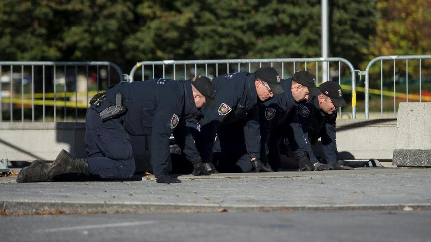 Ottawa Police officers comb the area in front of the National War Memorial near Parliament Hill  in Ottawa on Thursday, Oct. 23, 2014.  Michael Zehaf Bibeau fatally shot Cpl. Nathan Cirillo on Wednesday, at the National War Memorial before setting his sights on Parliament Hill. Bibeau was killed just feet from where hundreds of MPs were meeting for their weekly caucus meetings.  (AP Photo/The Canadian Press, Justin Tang)