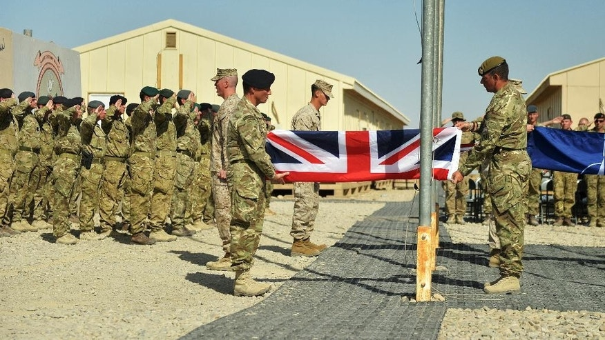 UK Armed Forces have ended combat operations in Helmand Province, paving the way for the final transfer of security to the Afghan National Security Forces (ANSF) defense officials said Sunday Oct. 26, 2014.  (AP/British Defence Imagery, Sergeant Obi Igbo, RLC )