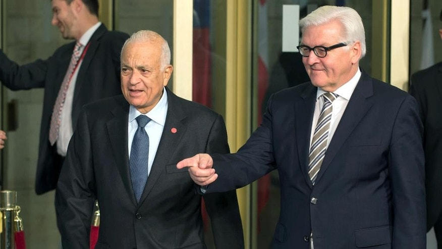 Oct. 28, 2014: German Foreign Minister Frank-Walter Steinmeier , right welcomes Arab League  Secretary-General  Nabil Elaraby,  in Berlin. (AP/dpa,Tim Brakemeier)