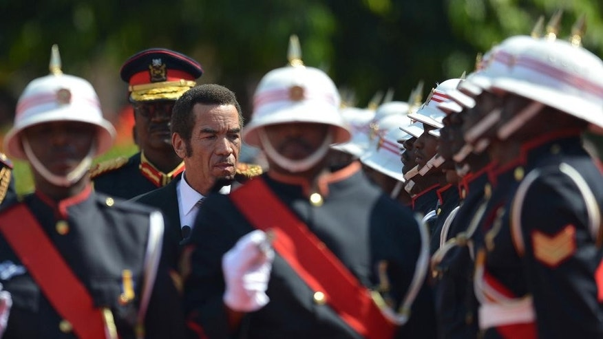 President Lt Gen. Seretse Khama Ian Khama, third from left, attends a swearing-in ceremony for a second and final term as Botswana president at the National Assembly buildings in Gaborone, Botswana, Tuesday, Oct. 28 2014. The ruling party won the country's elections that were held Oct. 24. (AP Photo)