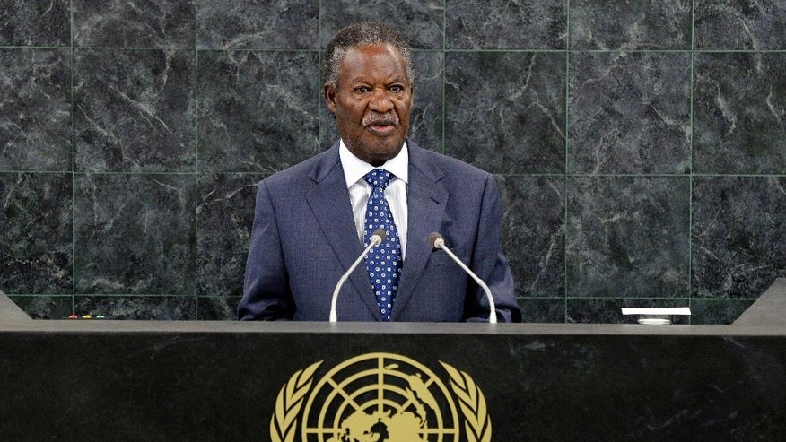 Sept. 24, 2013: In this file photo, Zambian President Michael Sata speaks during the general debate of the 68th session of the United Nations General Assembly at United Nations headquarters. Sata died Tuesday, Oct. 28, 2014 after an illness, the Zambian government said Wednesday, Oct. 29.