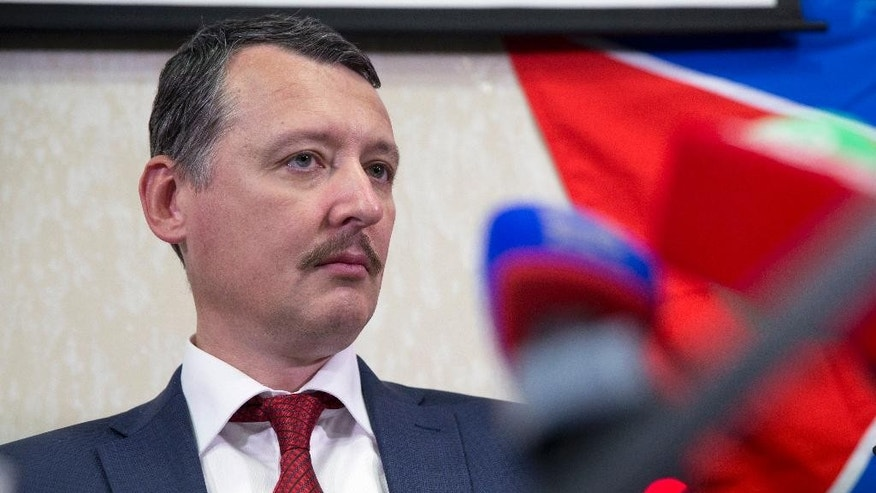 Oct. 30, 2014: Igor Strelkov, a former chief of pro-Russia insurgents in eastern Ukraine, holds a news conference in Moscow, Russia. (AP)
