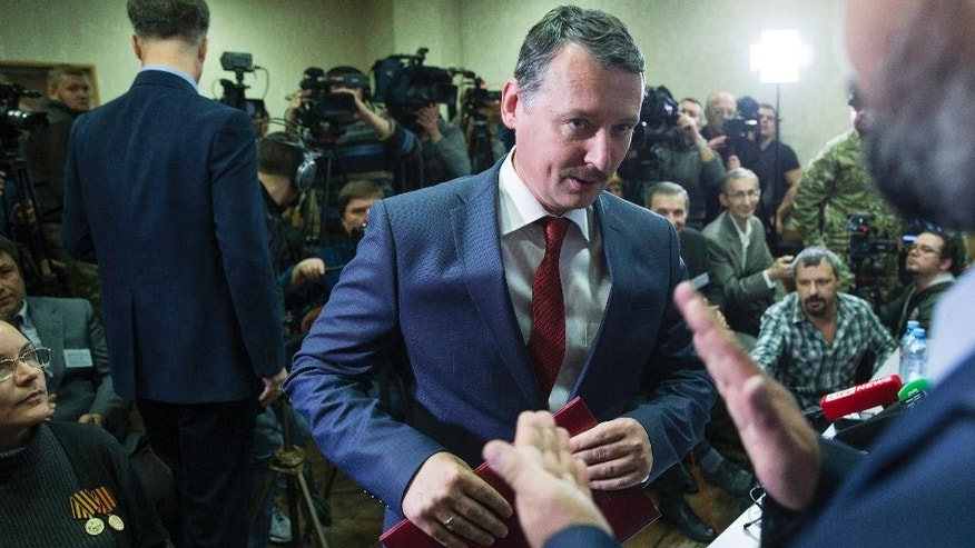 Oct. 30, 2014: Igor Strelkov,  a former chief of pro-Russia insurgence in eastern Ukraine, holds a news conference in Moscow, Russia. (AP)