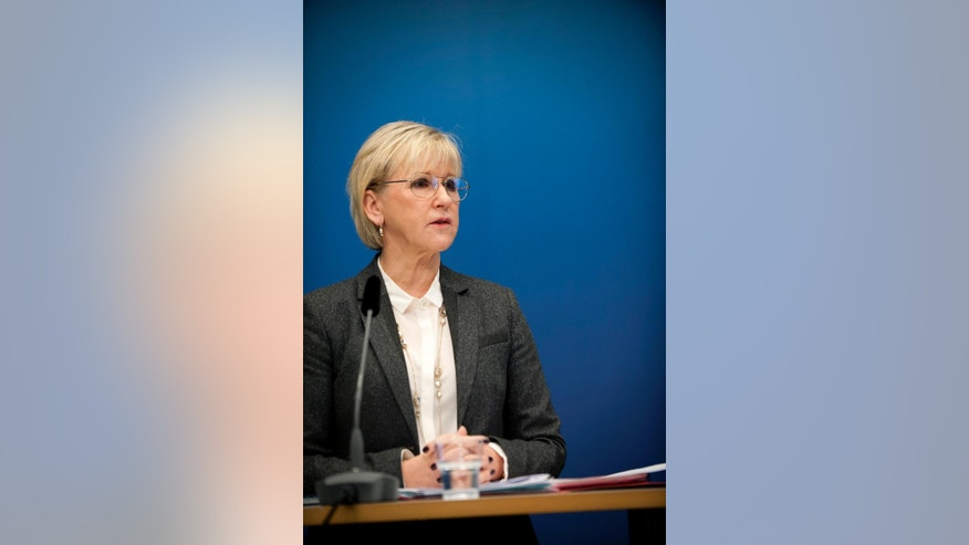 """Sweden's Foreign Minister Margot Wallstrom talks during a news conference Thursday Oct. 30, 2014, at the government building Rosenbad, in Stockholm, after Sweden's new government officially recognized a Palestinian state. Wallstrom said the Scandinavian country had decided on the move because the criteria of international law required for such recognition had been fulfilled, """"There is a territory, a people and government,"""" she told reporters in Stockholm. (AP Photo/Annika af Klercker) SWEDEN OUT"""