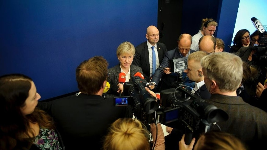 "Sweden's Foreign Minister Margot Wallstrom talks to the media Thursday Oct. 30, 2014,  at the government building Rosenbad, in Stockholm, after Sweden's new government officially recognized a Palestinian state. Wallstrom said the Scandinavian country had decided on the move because the criteria of international law required for such recognition had been fulfilled, ""There is a territory, a people and government,"" she told reporters in Stockholm. (AP Photo/Annika af Klercker) SWEDEN OUT"