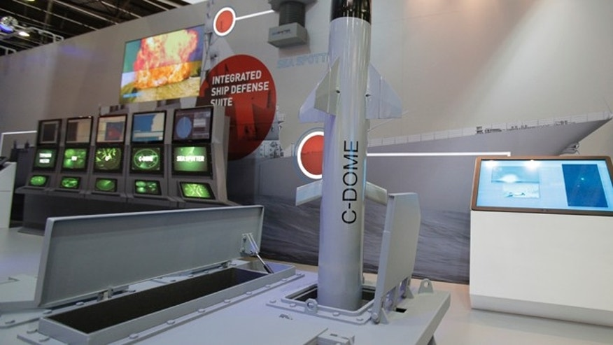 Oct. 30, 2014: A model of Israeli weapon company Rafael's C-Dome is presented at the Euronaval show, in Le Bourget, north of Paris.