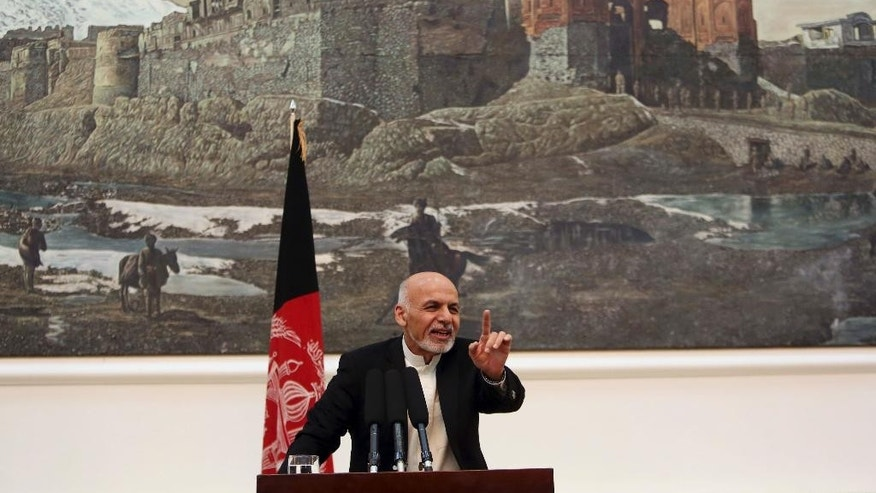 Afghanistan's President Ashraf Ghani Ahmadzai speaks during a press conference in Kabul, Afghanistan, Saturday, Nov. 1, 2014. Ghani Ahmadzai vowed that his crackdown on official corruption will ensure there is no repeat of a banking scandal in which almost $1 billion was embezzled, decimating confidence in the country's financial sector. (AP Photo/Rahmat Gul)