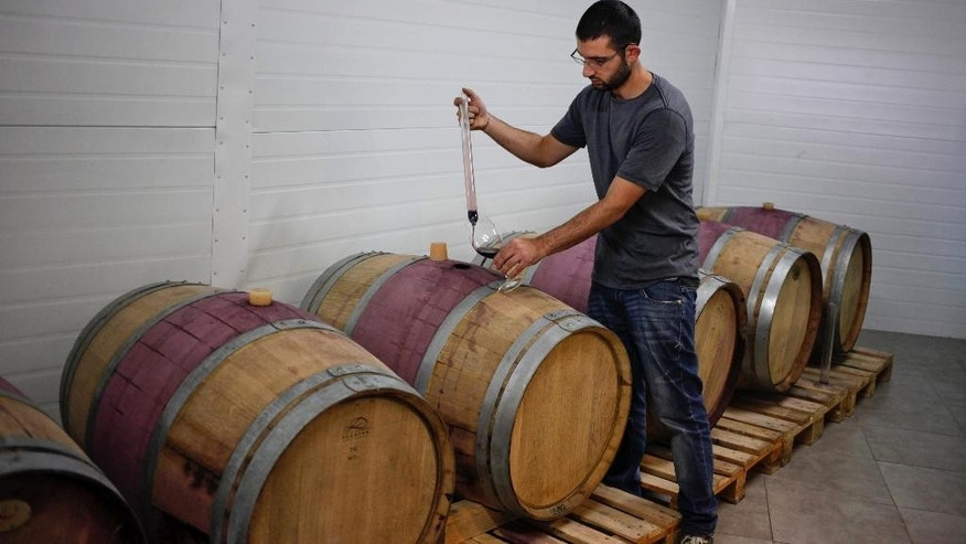 In this Tuesday, Oct. 28, 2014 photo, a man works at Palestinian Taybeh winery in Taybeh, West Bank. Despite the West Bank's majority Muslim population, which often shuns alcohol for religious reasons, Taybeh's annual Oktoberfest, first held in 2005, has ballooned into one of the region's must-see events, hosting diplomats, aid workers, journalists and local, mostly Christian Palestinians. The two-day festival has drawn some 16,000 people. (AP Photo/Nasser Shiyoukhi)