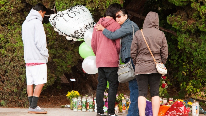 Mourners gather at the street-side memorial at North Jacaranda Street and Fairhaven Avenue in Santa Ana, Calif. on Saturday, Nov. 1, 2014 for three teenage trick-or-treaters killed in a Friday night hit-and-run accident. (AP Photo/Orange County Register, Ken Steinhardt)
