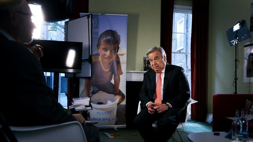 "Antonio Guterres, United Nations High Commissioner for Refugees, during an interview with the Associated Press, in London,  Tuesday, Nov. 4, 2014. The U.N. Refugee Agency has launched a 10-year campaign with the goal of eliminating the ""stateless"" status affecting millions of people throughout the world. (AP Photo/Kirsty Wigglesworth)"