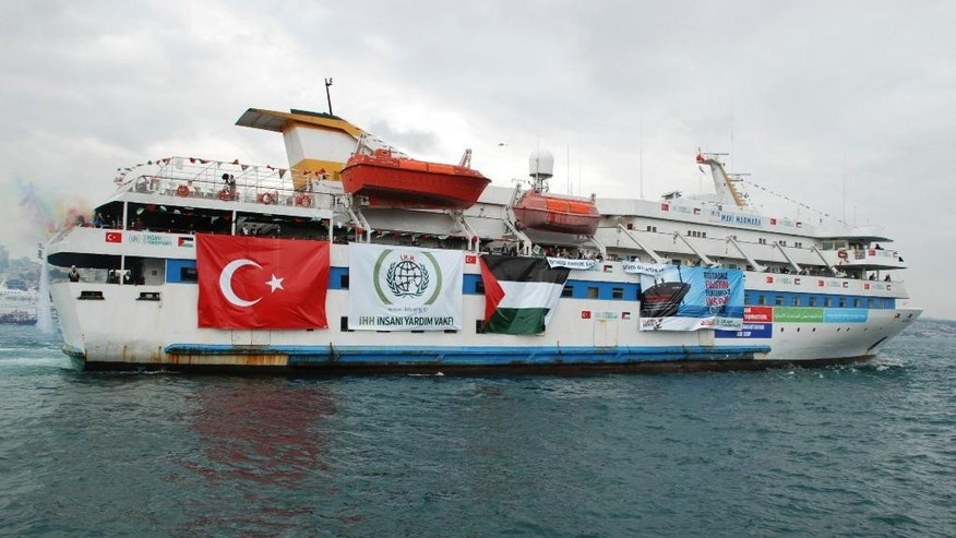 FILE - This May 22, 2010 photo provided by the Cyprus-based Free Gaza Movement shows one of the human rights group's ships, the Mavi Marmara, as it sets sail from Turkey carrying aid and hundreds of pro-Palestinian activists to the blockaded Gaza Strip. On Thursday, Nov. 6, 2014 Prosecutor Fatou Bensouda of the International Criminal Court (ICC) said that Israeli forces may have committed war crimes when they stormed an aid flotilla boat heading to Gaza, but the possible crimes aren't grave enough to merit a prosecution at the ICC in The Hague, Netherlands. Eight Turks and one Turkish-American were killed and several other pro-Palestinian activists were wounded when Israeli commandos stormed the ship Mavi Marmara on May 31, 2010. (AP Photo/Free Gaza Movement, File) NO SALES