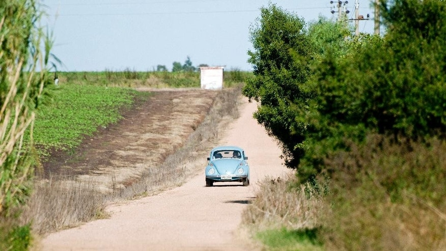 FILE - In this May 2, 2014 file photo, Uruguay's President Jose Mujica drives his Volkswagen Beetle on the dirt road that leads to his home, with his wife, Sen. Lucia Topolansky, on the outskirts of Montevideo, Uruguay. Mujica confirmed Thursday, Nov. 6, 2014, that he has received from an Arab shiek, a one million dollar offer for his 1987 sky blue Volkswagen Beetle. (AP Photo/Matilde Campodonico, File)