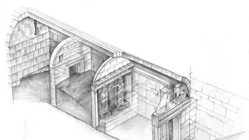 This drawing provided by Greece's Culture Ministry shows the three-chambered interior of a large 4th century B.C. tomb under excavation at Amphipolis in northern Greece. Bones from a skeleton found in the tomb's innermost chamber could help solve the riddle of who was buried in opulent splendor there. A Culture Ministry statement on Wednesday, Nov. 12, 2014, said the skeleton was strewn in and around a rectangular stone-lined cist, under the floor of the cavernous, vaulted structure that is 8 metres (26 feet) tall. (AP Photo/Greek Culture Ministry)