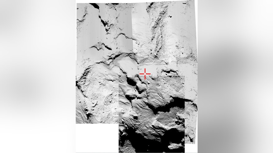 This five-image montage of  Rosetta's OSIRIS narrow-angle images , released by the European  Space Agency ESA on Thursday Nov. 13, 2014 , is being used to try to identify the final touchdown point of Rosetta's lander Philae. The images were taken around the time of landing on November 12 when Rosetta was about 18 km (11 miles)  from the center of Comet 67P/Churyumov-Gerasimenko (about 16 km from the surface).  ESA digitally  marked the supposed landing area with a cross.  The lander scored a historic first Wednesday, touching down on comet 67P/Churyumov-Gerasimenko after a decade-long, 6.4 billion-kilometer (4 billion-mile) journey through space aboard its mother ship, Rosetta. The comet is streaking through space at 41,000 mph (66,000 kph) some 311 million miles (500 million kilometers) from Earth. (AP Photo/ESA/Rosetta/Philae)