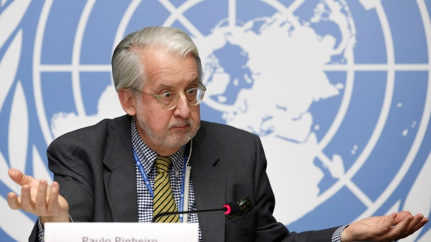 Nov.14, 2014 - Brazilian Paulo Pinheiro, Chair of the Commission of Inquiry on Syria, at the European headquarters of the UN in Geneva, Switzerland. The UN panel investigating war crimes in Syria says ISIS has denied food and medicine to hundreds of thousands of people and hidden its fighters among civilians since a U.S.-led coalition began launching airstrikes in Iraq and Syria.
