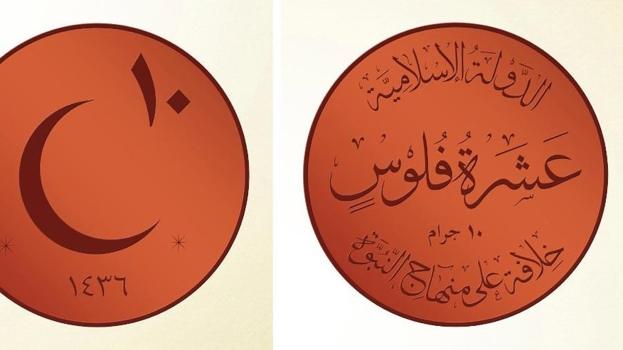 Nov. 13, 2014 - Rendering of a 10 copper feloos coin, a new coin that ISIS leader Abu Bakr al-Baghdadi ordered the group to start minting for its own currency -the Islamic dinar. The Arabic on left image shows 10 for the 1st line, 1436 (Islamic year) for the 2nd. The Arabic on the right image shows ISIS for the 1st line, 10 feloos for 2nd line, 10 grams for the third line and A Caliphate Based on the Doctrine of the Prophet for the fourth line.