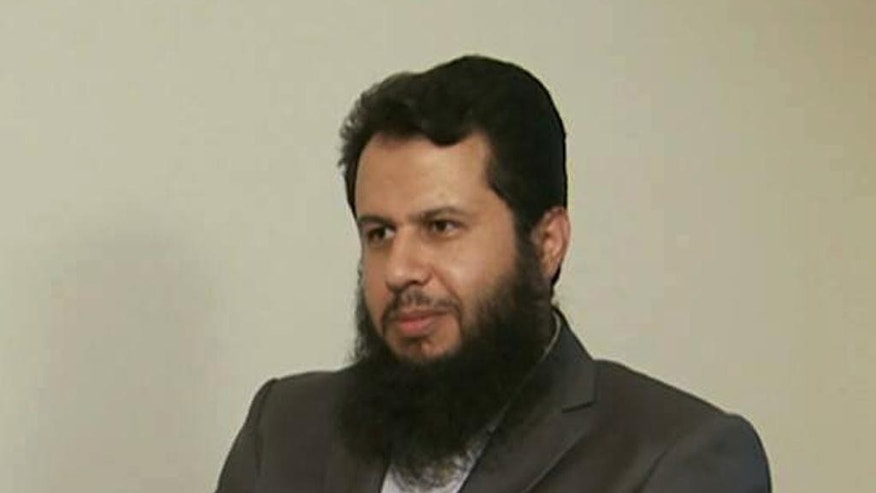 In this undated photo posted on September 9, 2014 by an anti-Bashar Assad activist group Edlib News Network (ENN), which has been authenticated based on its contents and other AP reporting, shows Hassan Aboud, leader from the ultraconservative Ahrar al-Sham group, who was assassinated when a suicide attack killed more than two dozen officials from his group, in Idlib province, northern Syria. The moderate Syrian rebels that Washington hopes will battle the Islamic State extremist group are hemorrhaging on multiple fronts.  A string of targeted killings of top commanders has dimmed the prospect of the moderates emerging as an effective ground force. (AP Photo/Edlib News Network ENN)