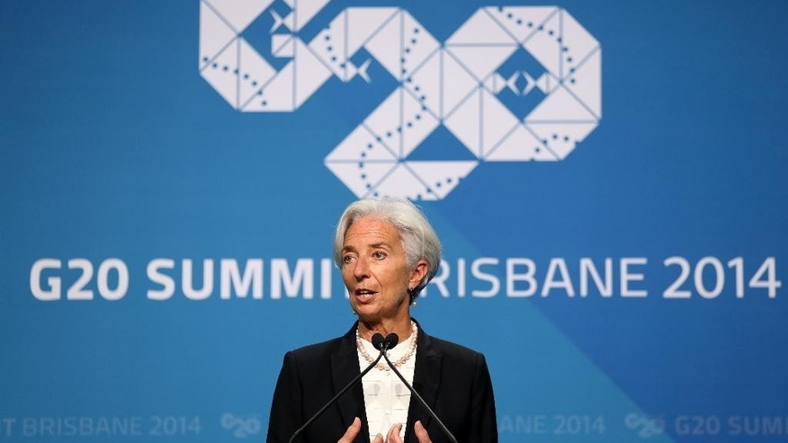 Managing Director of the IMF Madame Christine Lagarde addresses a press conference at the conclusion of the G-20 summit in Brisbane, Australia, Sunday, Nov. 16, 2014. (AP Photo/Rob Griffith)