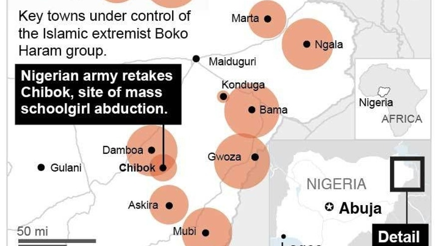 Map locates liberated Nigerian town of Chibok and other towns under the control of Boko Haram. 2c x 4 inches; staff; ETA 11:15 a.m. ; 1c x 4 inches; 46.5 mm x 101 mm;