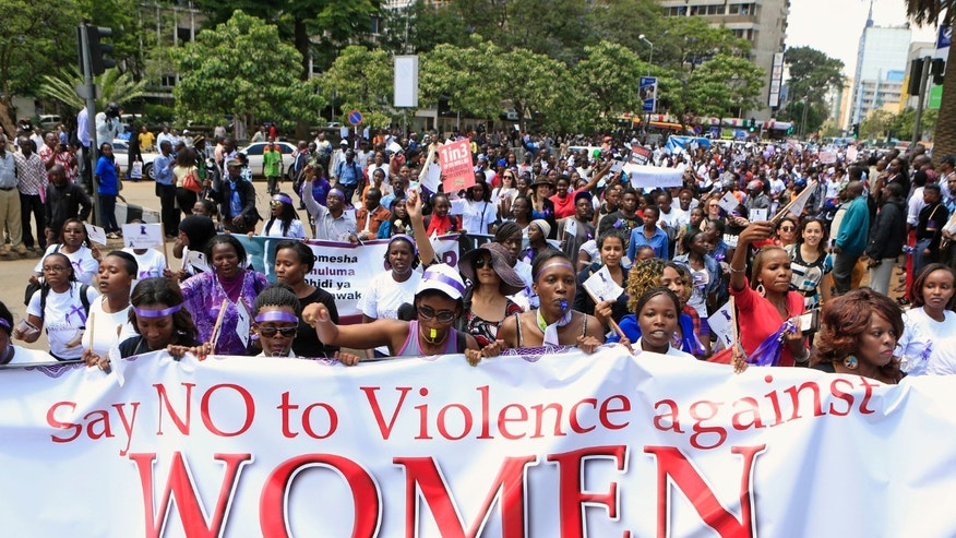 November 17, 2014 - Women protest in the Kenyan capital of Nairobi, demanding justice for a woman attacked and stripped by men who claimed she was dressed indecently.