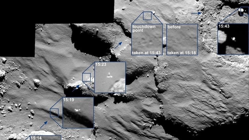 The combination image of several partially enlarged photographs released by the European Space Agency, ESA, Monday, Nov. 17, 2014 shows the journey of Rosetta's Philae lander as it approached and then rebounded from its first touchdown on Comet 67P/Churyumov–Gerasimenko on Nov. 12,  2014. The series of images was captured by Rosetta's OSIRIS camera from a distance of 15.5km (9.6 miles) from the comet surface over a 30 minute period spanning the first touchdown. The time of each of image has marked been marked by source on the corresponding insets and is in GMT. A comparison of the touchdown area shortly before and after first contact with the surface is also provided. From left to right, the images show Philae descending towards and across the comet before touchdown.  (AP Photo/European Space Agency)